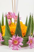 picture of floating  - Krathong the hand crafted floating candle made of floating part decorated with green leaves colorful flowers and many sorts of creative materials  - JPG