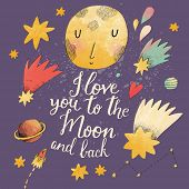 stock photo of you are awesome  - I love you to the moon and back - JPG