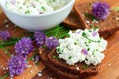pic of chive  - Fresh organic rye bread with chives and cottage cheese horizontal - JPG