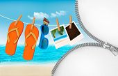 stock photo of zipper  - Vacation background with a zipper - JPG