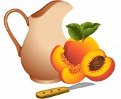 foto of jug  - Scalable vectorial image representing a clay jug with peaches - JPG