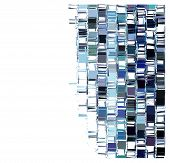 pic of fragmentation  - blue fragmented square abstract pattern over white - JPG
