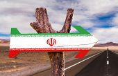 foto of tehran  - Iran Flag wooden sign with desert road background - JPG