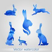 picture of hare  - Hare set of vector watercolor silhouettes - JPG