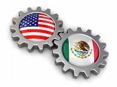 stock photo of snatch  - USA and Mexican flags on a gears - JPG