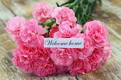 foto of carnation  - Welcome home card with pink carnations on rustic wooden surface - JPG