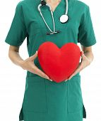 stock photo of scrubs  - Doctor in green scrubs showing a big red heart - JPG