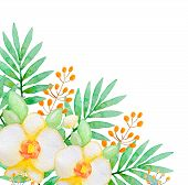 pic of yellow orchid  - Watercolor background with yellow orchids and green leaves - JPG