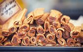 picture of buffet  - Delicious sweet buffet with rolled waffles with chocolate cream - JPG