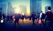 picture of commutator  - Commuter Business District Walking Crowd Cityscape Concept - JPG