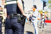 image of policeman  - city security and safety - JPG