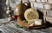 image of french culture  - Still life with french goat cheese - JPG