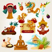 foto of woman dragon  - Thailand touristic set with cartoon decorative cocktail buddha statue tropical fruits isolated vector illustration - JPG