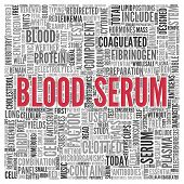 image of lipids  - Close up BLOOD SERUM Text at the Center of Word Tag Cloud on White Background - JPG