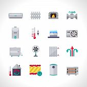 stock photo of household  - Heating icons set with household electric and air conditioning system symbols isolated vector illustration - JPG