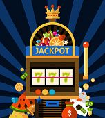 image of slot-machine  - Slot machine concept with jackpot crown and money on dark blue background with rays flat vector illustration - JPG
