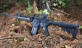 stock photo of rifle  - Black semi automatic rifle on a forest floor - JPG