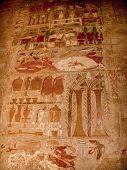 foto of hatshepsut  - Detail of colored reliefs at the Temple of Hatshepsut at Deir el - JPG