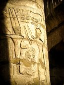 image of hieroglyph  - Detail of hieroglyphs in the columns of the Hypostyle Hall at the Temple of Karnak  - JPG