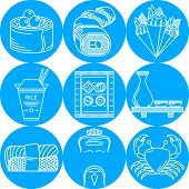 image of chinese menu  - Set of round blue vector icons with white line japanese seafood menu on white background - JPG