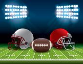 Постер, плакат: American Football Field With Helmets And Ball Illustration
