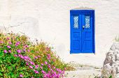 picture of greek-island  - Iconic blue wooden door against clear white wall and colorful flowers - JPG