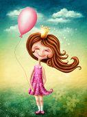 stock photo of fairies  - Little fairy girl with pink balloon - JPG