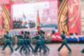 pic of parade  - Parade on Red Square in Moscow blur background with bokeh effect - JPG