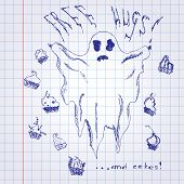 stock photo of funny ghost  - Hand drawn funny ghost with cakes on notebook page paper - JPG