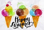 foto of cone  - Poster watercolor ice cream cones different colors lettering happy summer drawing on crumpled paper - JPG
