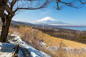 stock photo of mount fuji  - Aerial panorama view point of Mount Fuji at Yamanaka Lake in Winter - JPG