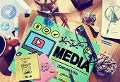 image of mass media  - Media Devices Mess Communication Multimedia Concept - JPG