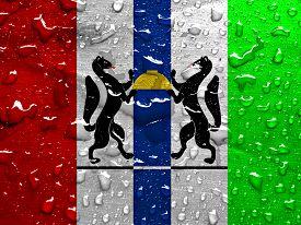 pic of novosibirsk  - flag of Novosibirsk oblast with rain drops - JPG