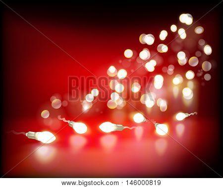 Lights on red background. Vector illustration.
