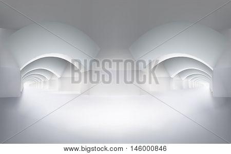 Interior with hallways. Vector illustration.