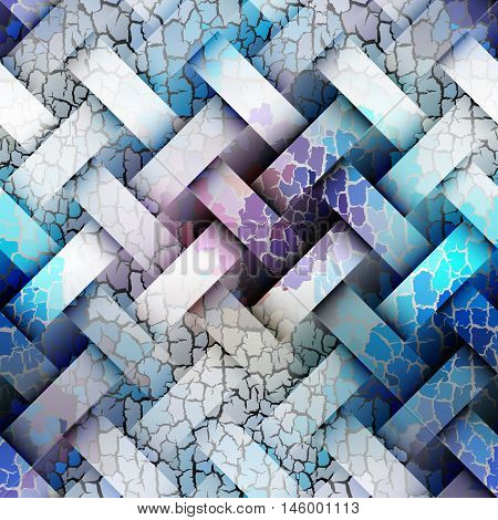 Seamless background pattern. Diagonal plaid pattern with a interweaving effect and cracks