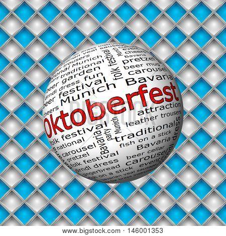 Oktoberfest wordcloud on bavarian background - 3D illustration
