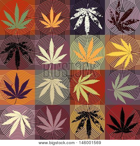 Seamless background pattern. Grunge hemp leaves on a squared background.