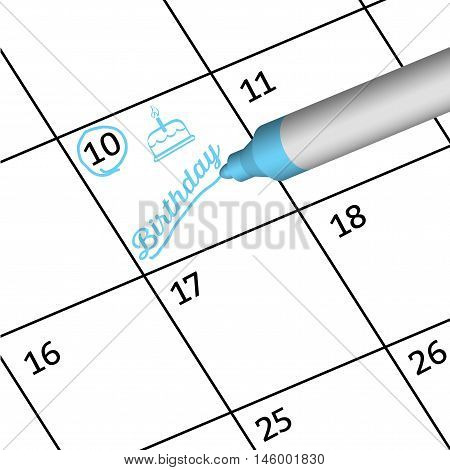 Pen Mark writing important days of special people on calendar. Reminder monthly schedule. illustration.