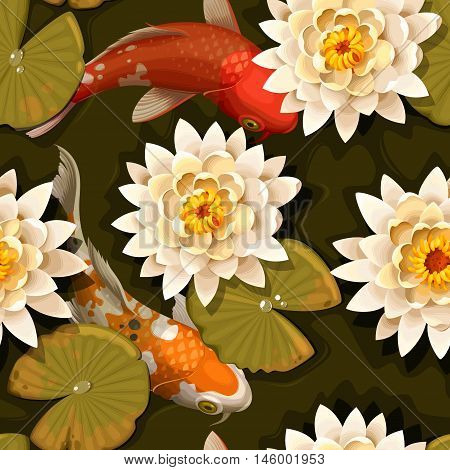 Koi carps and lotus vector seamless background