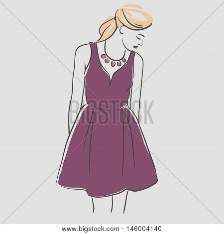 Beautiful Young Women With Long Blonde Hair In A Fashion Violet Evening  Dress. Vector Illustration