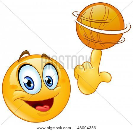 Happy yellow ball spinning a basketball on his finger