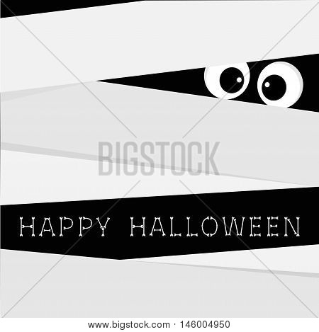 Mummy zombie Bandage and big eyes. Egypt monster. Happy halloween bones text. Cute cartoon character. Scary boo greeting card. Flat design. Vector illustration