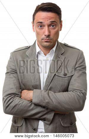 Sad Businessman Looking At Camera