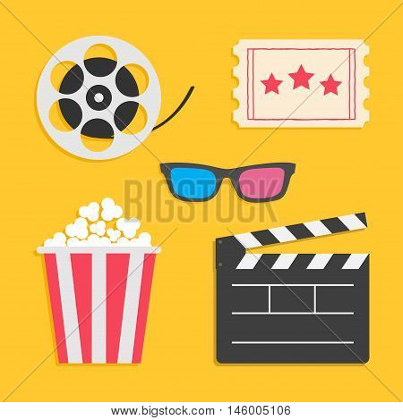3D glasses Movie reel Open clapper board Popcorn Ticket Cinema icon set. Flat design style. Yellow background. Vector illustration
