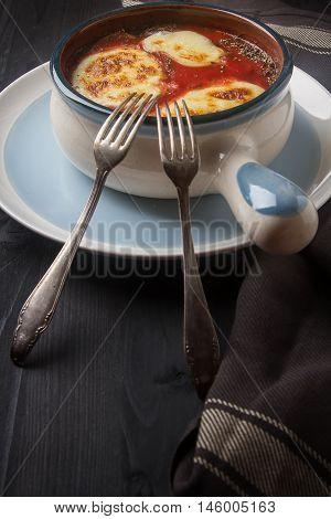 Home Parmigiana Di Melanzane With Ripe Tomato, White Mozzarella
