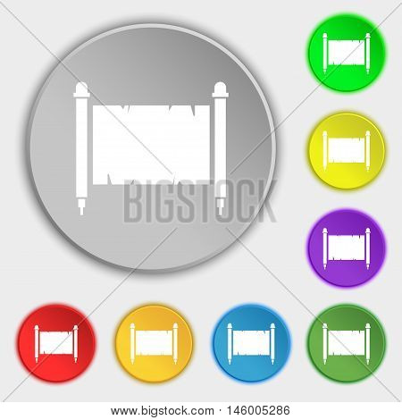 Ancient Parchment Sheet Of Paper Sign. Symbol On Eight Flat Buttons. Vector