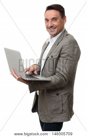 Smiling Young Man With Laptop Isolated