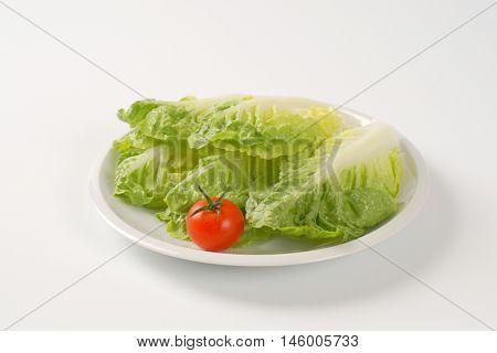 little gem lettuce leaves on white plate