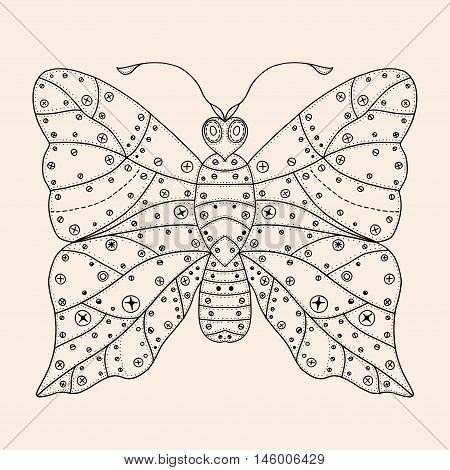 Butterfly of iron sheets with rivets. Hand Drawn vector illustration Black, beige color. Sketch for tattoo or makhenda. Insect collection.